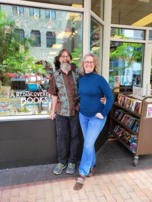 Bruce and Laura Delaney outside Rediscovered Books.