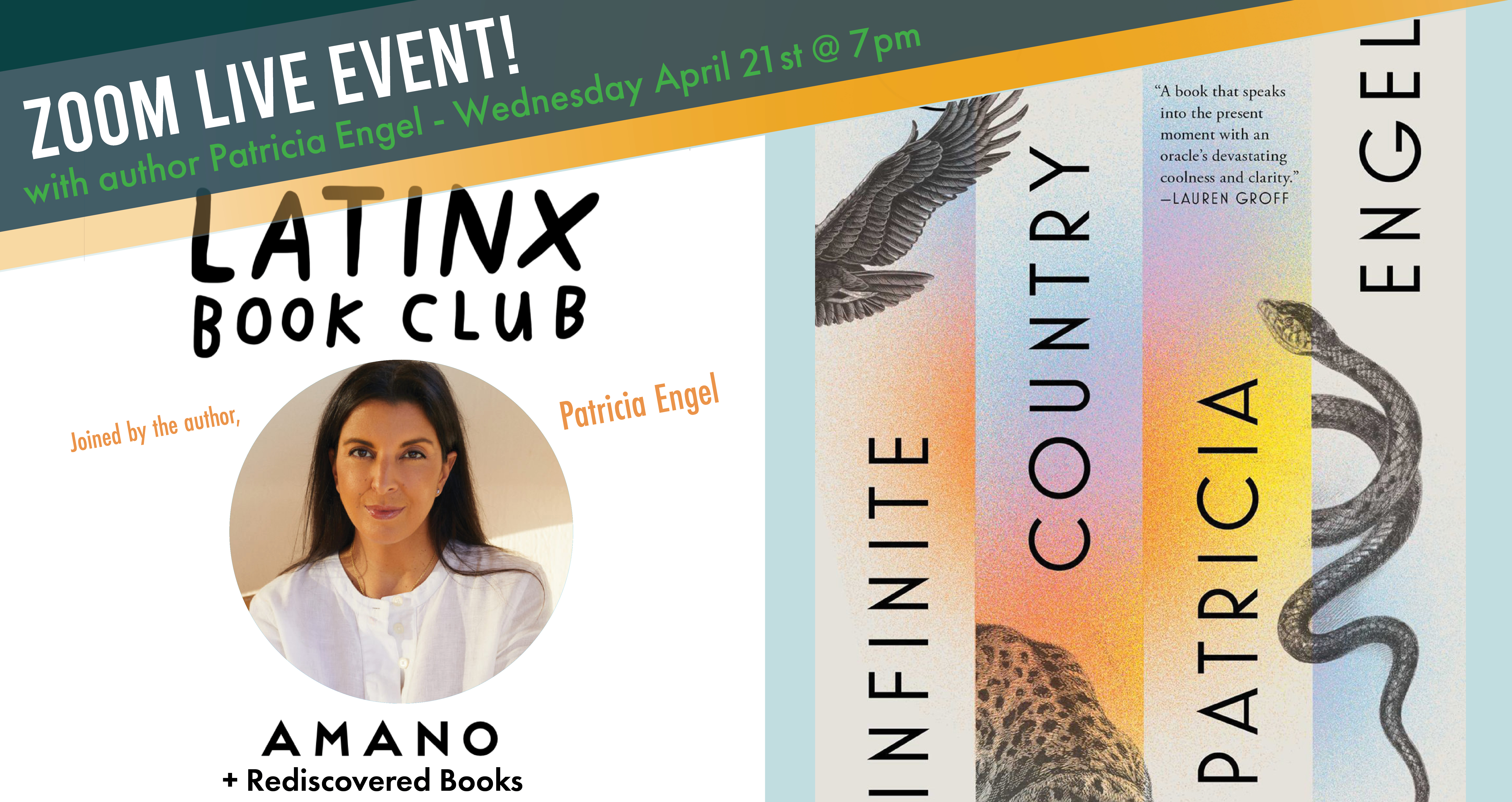 Latinx Book Club April 2021 with special guest author Patricia Engel